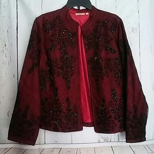 Choices Evening Jacket Beads Red Black sz L